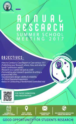 Annual Research Summer School Meeting 14-15 October 2017