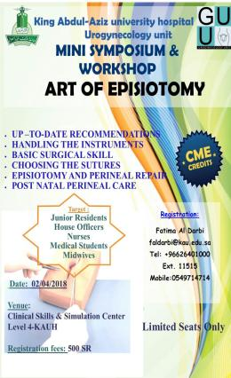 Mini Symposium and Workshop Art of Episiotomy 2 April 2018